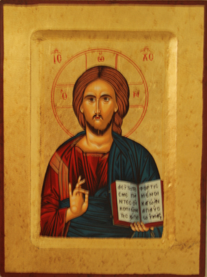Christusikone mit Bibel